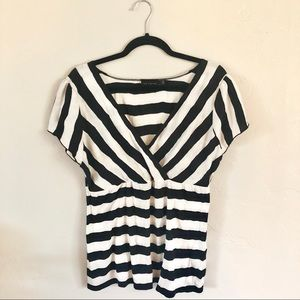 NWOT The Limited Black & White Striped Top